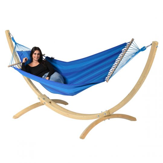 Amaca con supporto per 1 persona Wood & Relax Blue