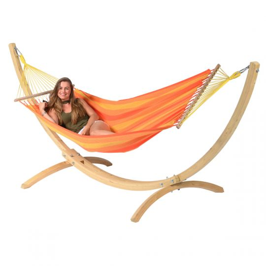 Amaca con supporto per 1 persona Wood & Relax Orange