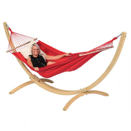 Amaca con supporto per 1 persona Wood & Relax Red