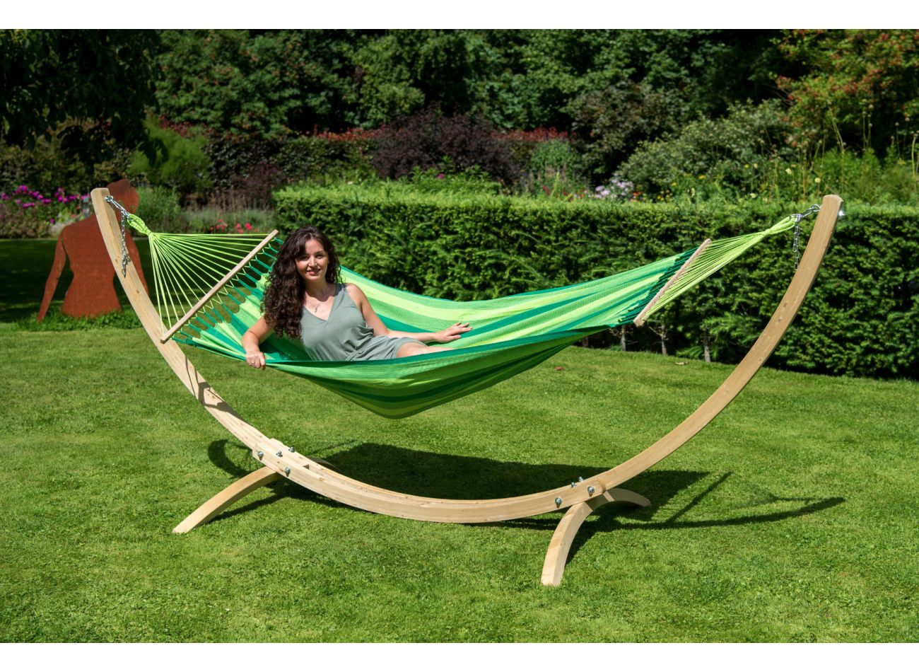 Amaca con supporto per 1 persona Wood & Relax Green